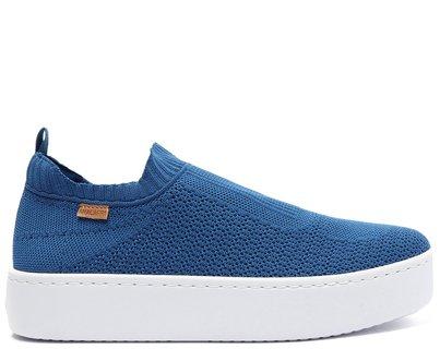 Tênis Slip On Azul Knit Flatform