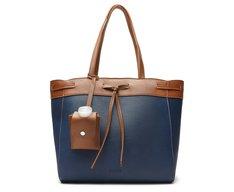 Bolsa Shopping Azul Grande Caramelo