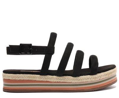 Sandália Preta Multi Tiras Flatform