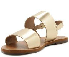 Sandália Tiras Couro Dourada