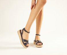 Sandália Azul Corda Flatform