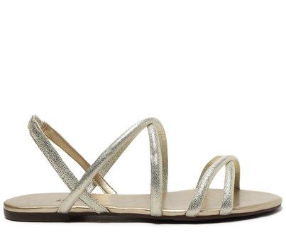 Sandália Dourada Brilhosa Tiras Finas Cruzadas