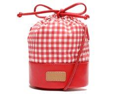 Bolsa Bucket Vermelha Tecido Vichy
