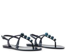 Sandália Azul Marinho Bolinhas