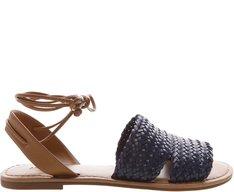 Sandália Rasteira Trança Azul Marinho