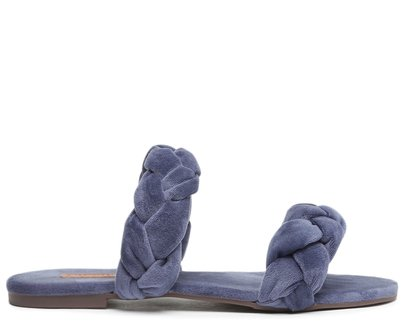 Rasteira Azul Tiras Trançadas Tecido
