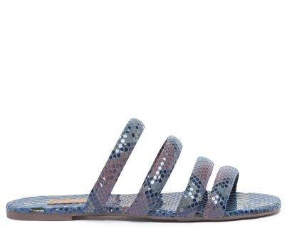 Rasteira Azul Snake Tiras Arredondadas