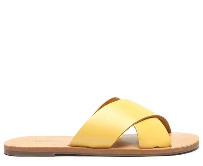 Rasteira Amarela Tiras Cruzadas