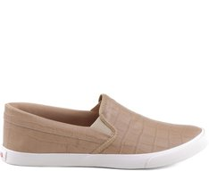 Tênis Slip On Croco Bege