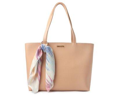 Bolsa Shoping Rosa Blush Lenço Estampado