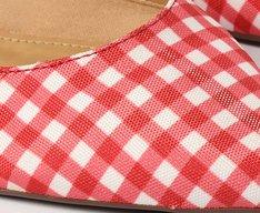 Sapatilha Vermelha Tecido Vichy Slingback