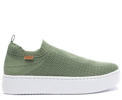 Tênis Slip On Verde Jade Knit Flatform