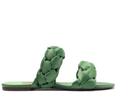 Rasteira Verde Tiras Trançadas Satim