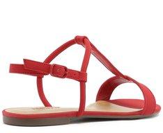 Sandália Tiras Nobuck Vermelha