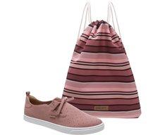 Tênis Malu Slip On Rosa + Bag Listrada