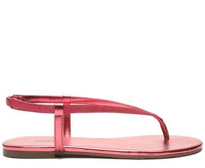 Rasteira Rosa Metalizado Tira Fina Manta Brilhosa