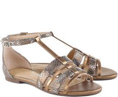 Rasteira Animal Print Bronze