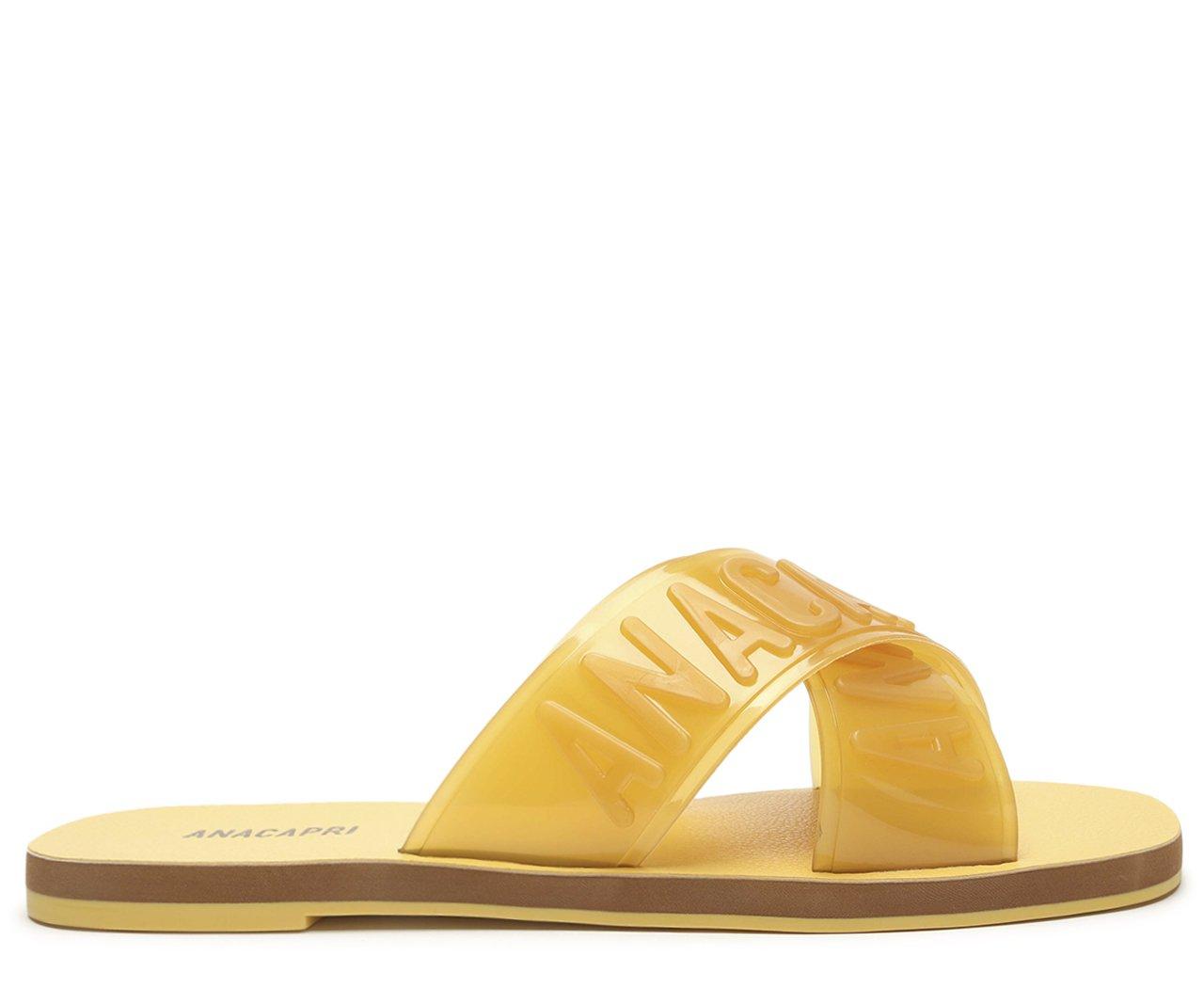 Rasteira Amarela Tiras Cruzadas Anacapri | Anacapri