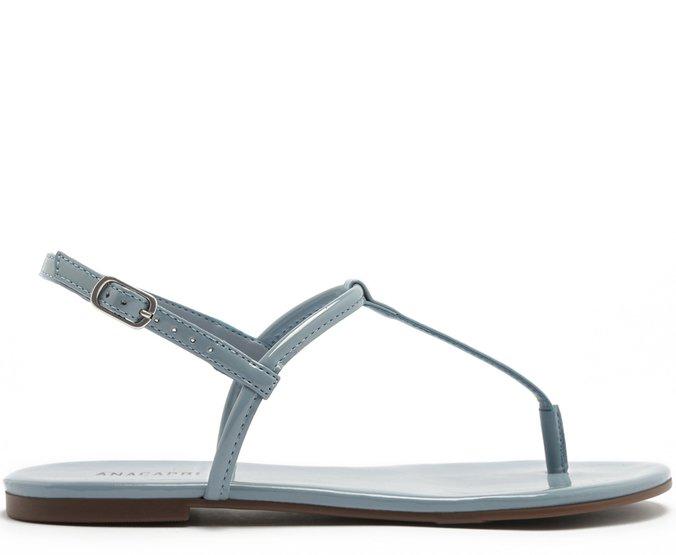 Sandália Slim Verniz Jeans