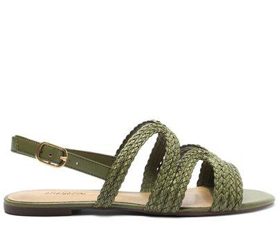 Sandália Rasteira Verde Alecrim Tira Trança