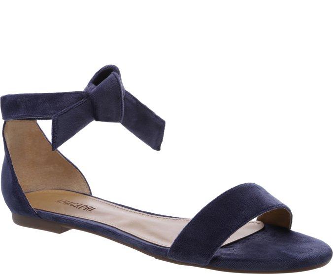 Sandália Nó Minimal Veludo Azul