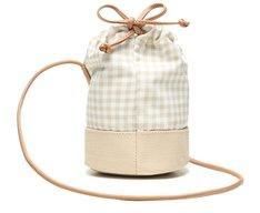 Bolsa Bucket Bege Tecido Vichy