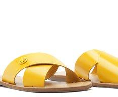 Rasteira Tiras Cruzadas Smiley Amarela