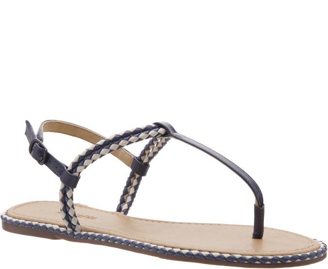 Sandália Slim Tiras Trançadas Azul Marinho