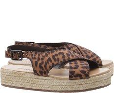 Sandália Flatform Tiras Cruzadas Animal Print