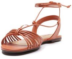 Sandália Tiras Amarração Dourada