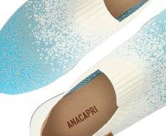 Tênis Slip On Branco e Azul Knit Degradê
