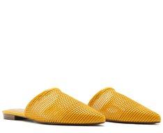 Mule Bico Fino Tressê Amarela