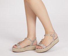 Sandália Flatform Conchas Bronze