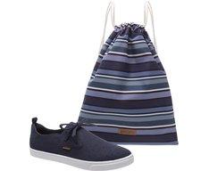 Tênis  Malu Slip On Azul + Bag Listrada
