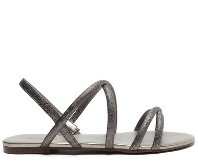 Sandália Prata Brilhosa Tiras Finas Cruzadas