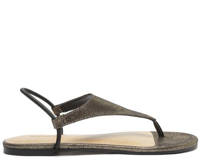 Sandália Dourada e Preta Elástico