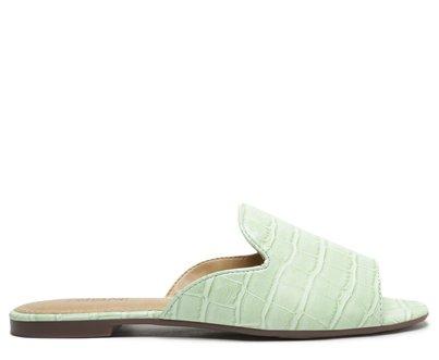 Rasteira Verde Menta Croco Flat