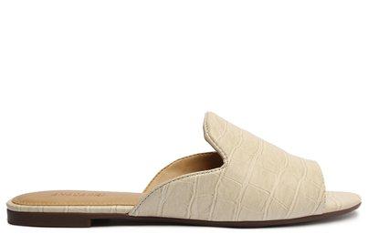 Rasteira Off-White Croco Flat