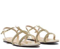 Sandália Tiras Brilhos Dourada