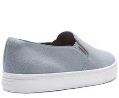 Tênis Slip On Sola Alta Acamurçado Jeans