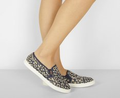 Tênis Slip On Lona Animal Print Azul