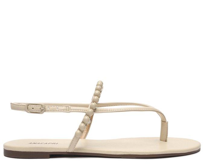 Sandália Branco Bone Bolinhas