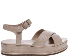 Sandália Flatform Croco Sand