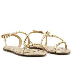Sandália Curva Tachas Ouro
