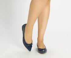 Sapatilha Azul Marinho Verniz Bico Fino