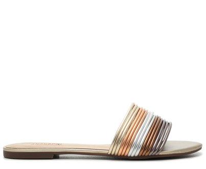 Rasteira Metalizada Tiras Flat