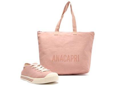 [Pré Venda] Kit Tênis Rosa Antigo e Bolsa Shopping Lona