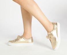 Tênis Slip On Dourado Laço