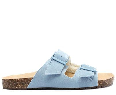 Slide Azul Apeluciado Fivelas