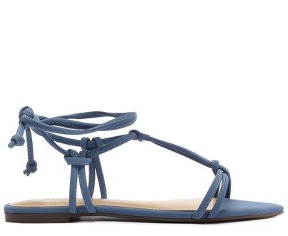 Sandália Azul Safira Bico Folha
